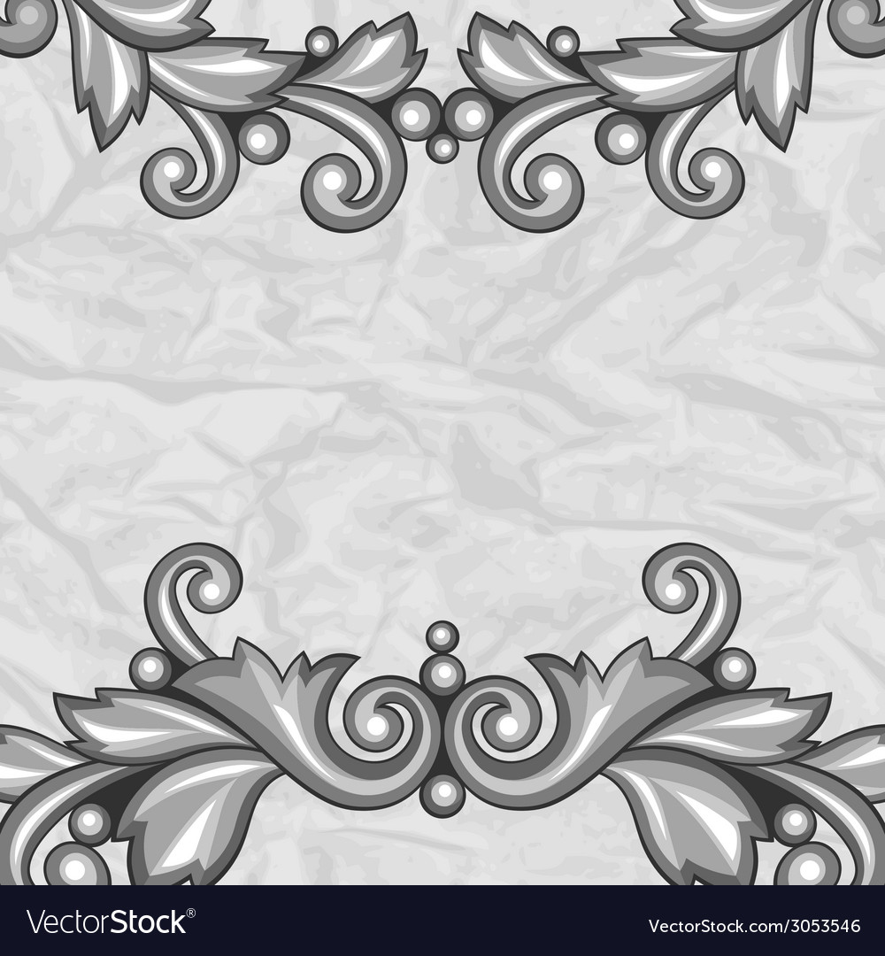 Background with baroque ornamental floral silver vector | Price: 1 Credit (USD $1)