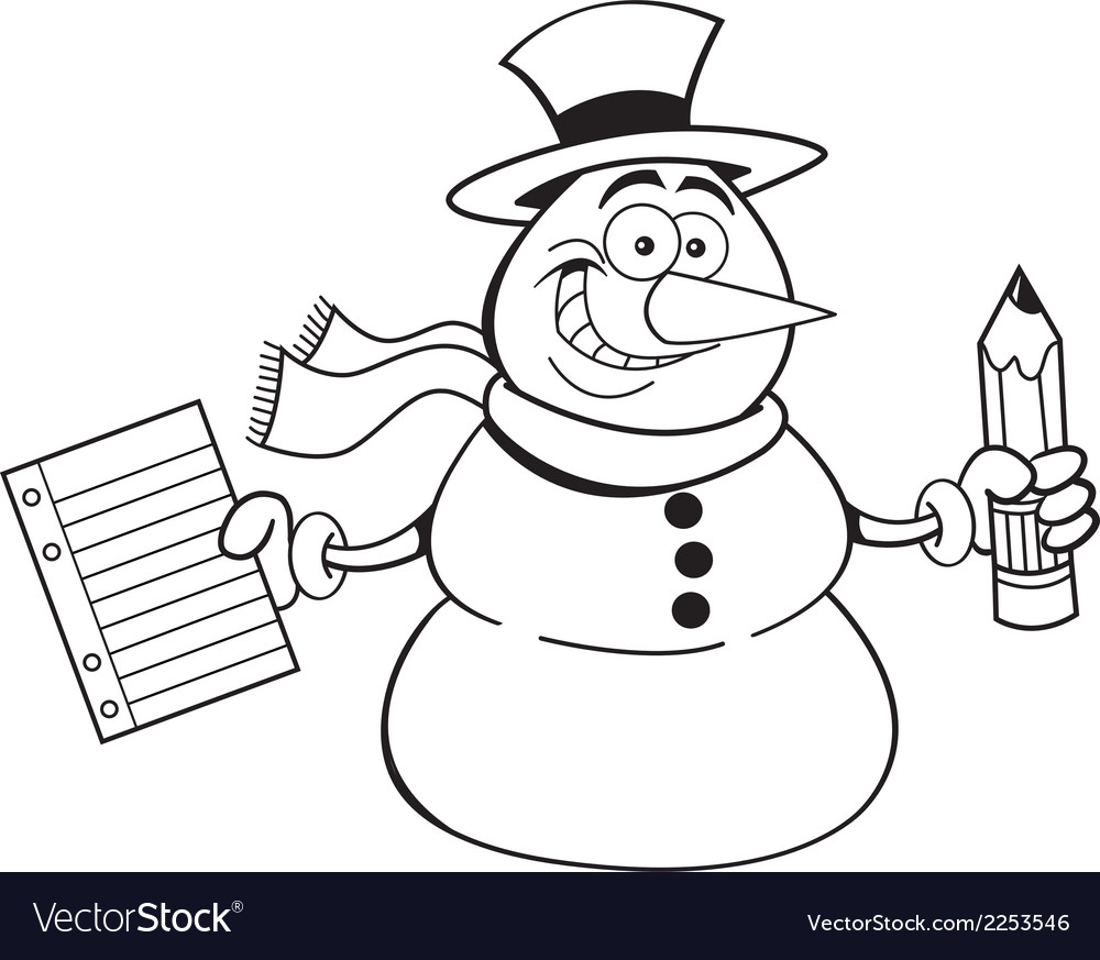 Cartoon snowman holding a paper and pencil vector | Price: 1 Credit (USD $1)