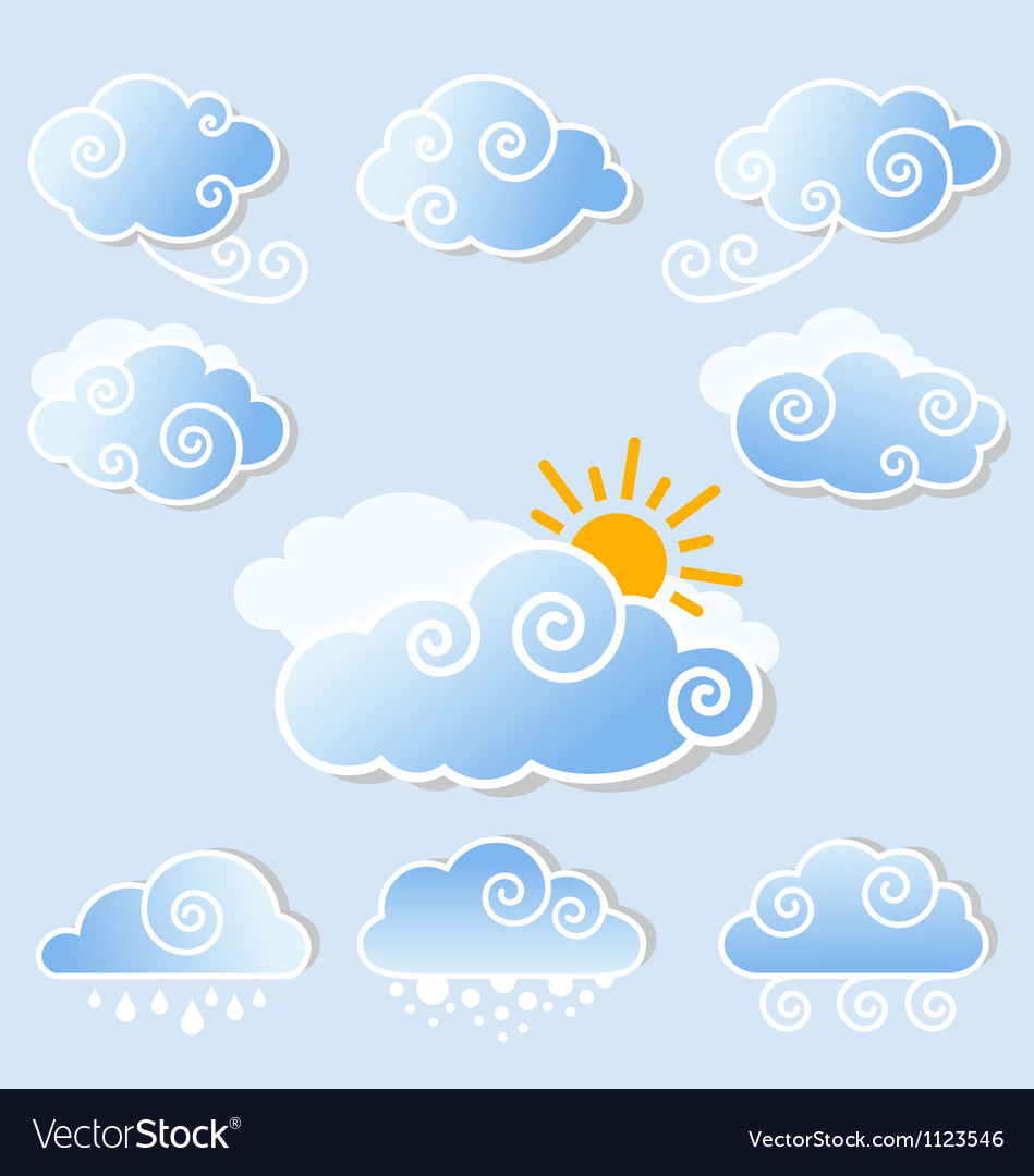 Cute clouds set vector | Price: 1 Credit (USD $1)