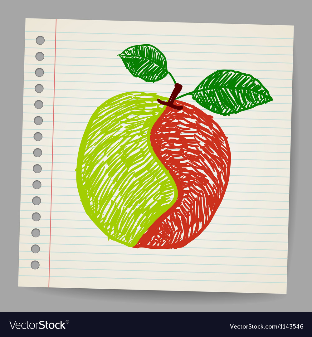 Doodle apple collage vector | Price: 1 Credit (USD $1)