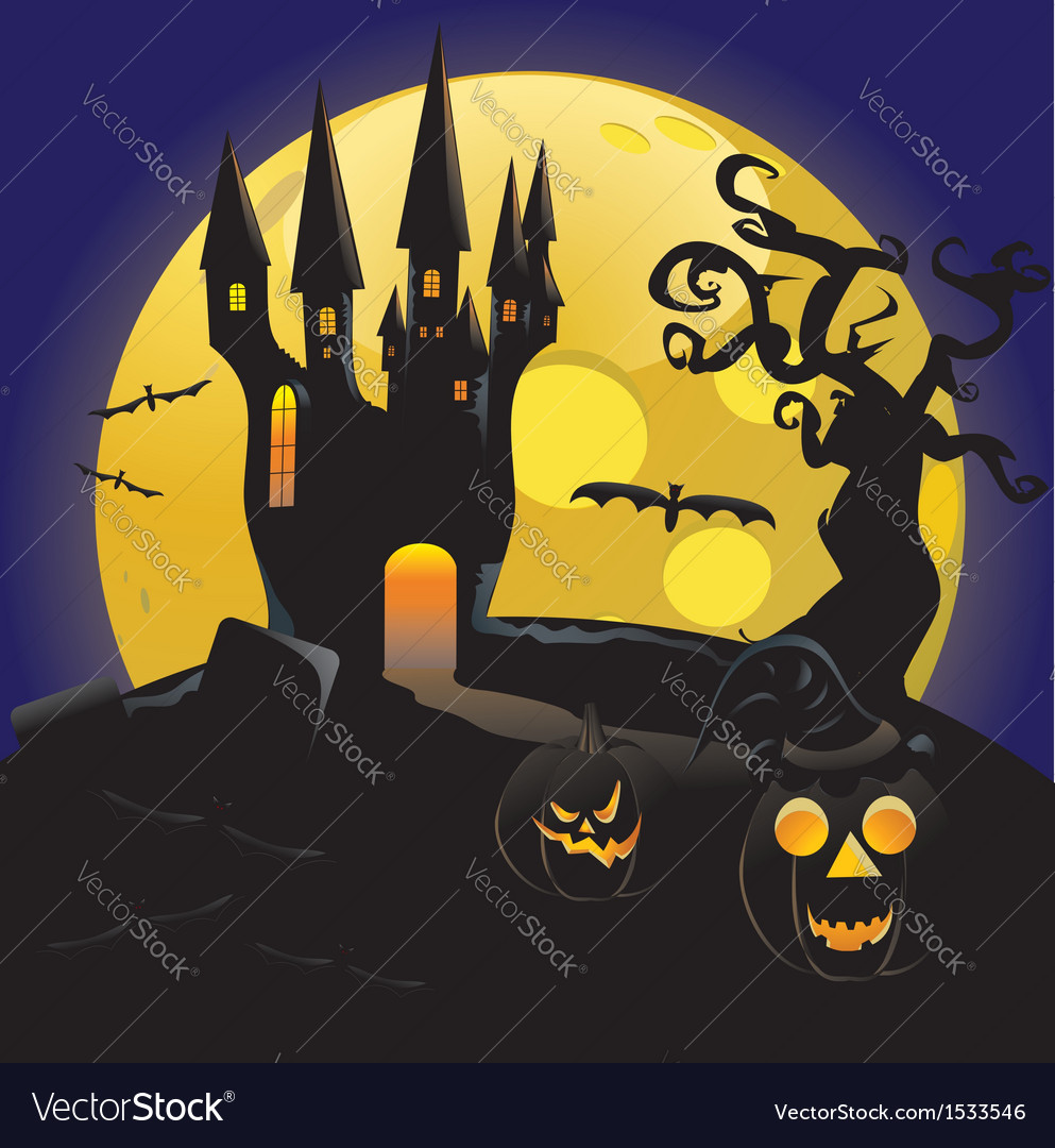 Haunted halloween castle vector | Price: 3 Credit (USD $3)