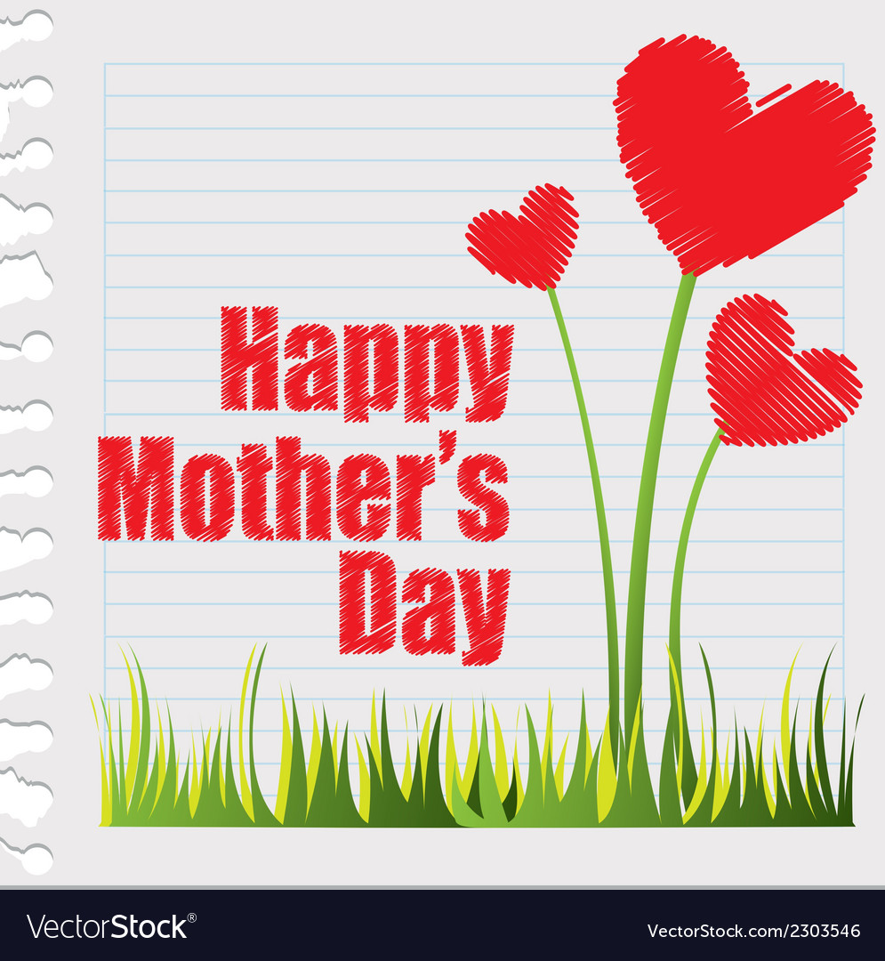 Hearts flowers happy mothers day vector | Price: 1 Credit (USD $1)