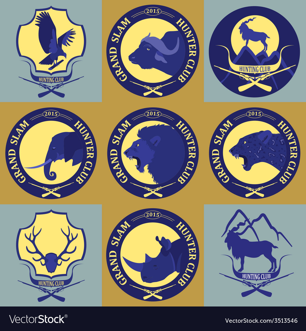 Hunting club label collecton grand safari logos vector | Price: 1 Credit (USD $1)
