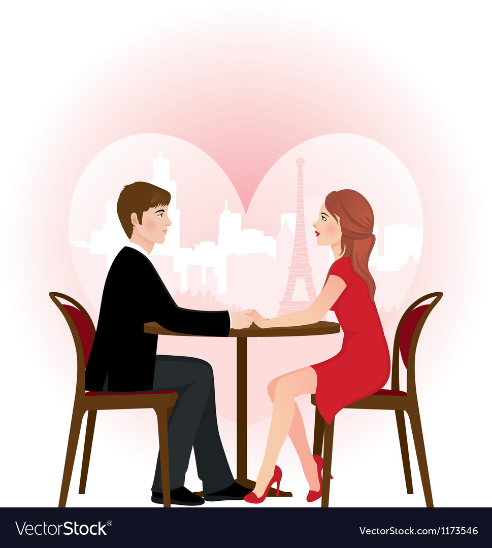Loving couple on a date in the cafe vector | Price: 1 Credit (USD $1)