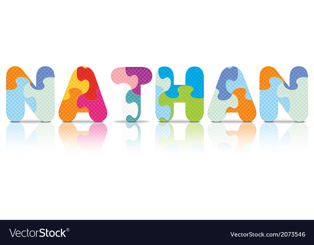 Nathan written with alphabet puzzle vector | Price: 1 Credit (USD $1)