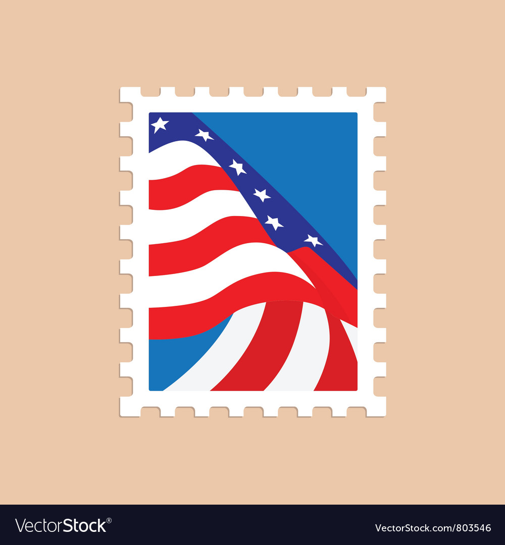 Postage stamp with the american flag vector | Price: 1 Credit (USD $1)