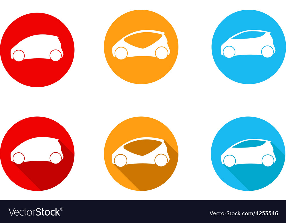 Round car icon with flat long shadow icon vector | Price: 1 Credit (USD $1)