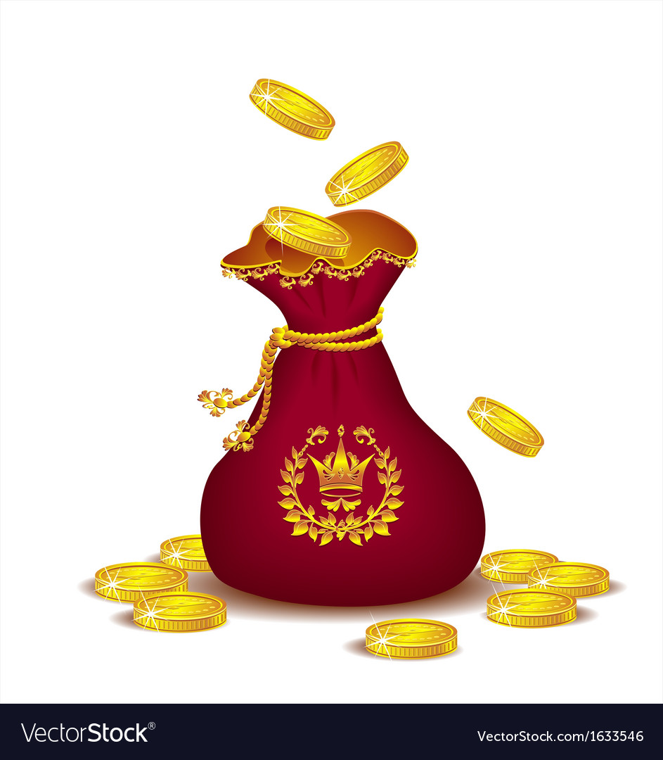 Royal bag with gold coins vector | Price: 1 Credit (USD $1)