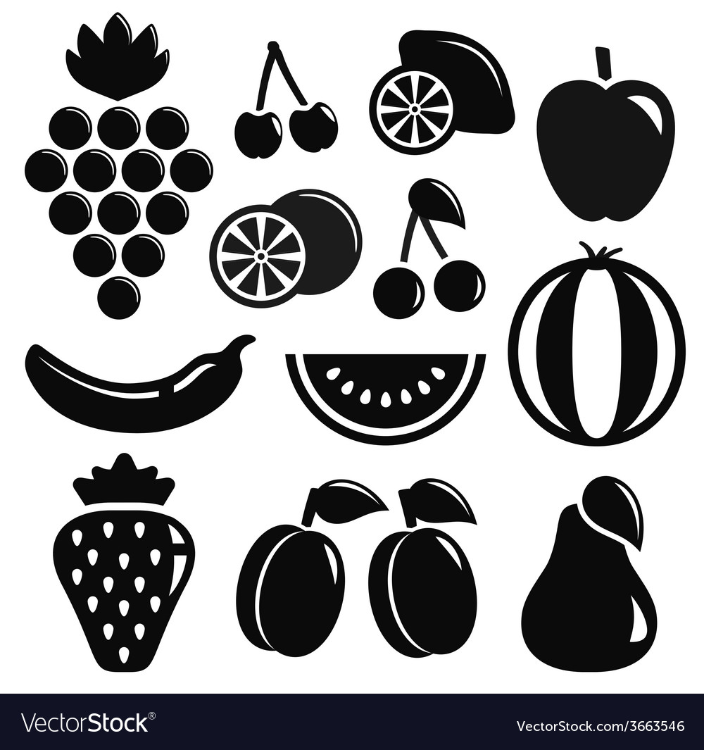 Set black fruit objects vector | Price: 1 Credit (USD $1)