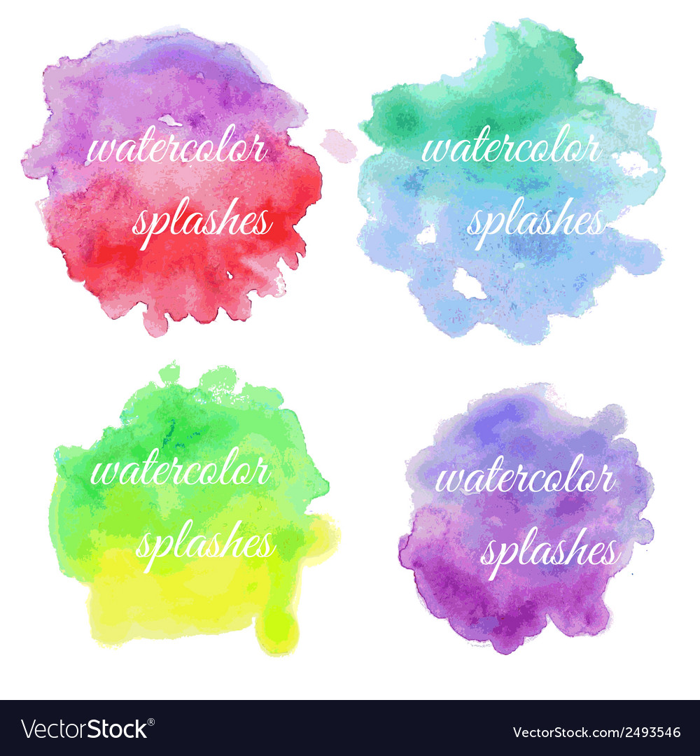 Set of colorful brush splatters vector | Price: 1 Credit (USD $1)