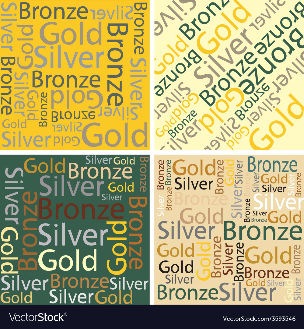 Words of gold silver and bronze vector | Price: 1 Credit (USD $1)