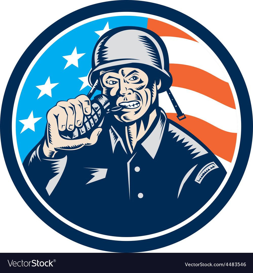 World war two soldier american grenade circle vector | Price: 1 Credit (USD $1)