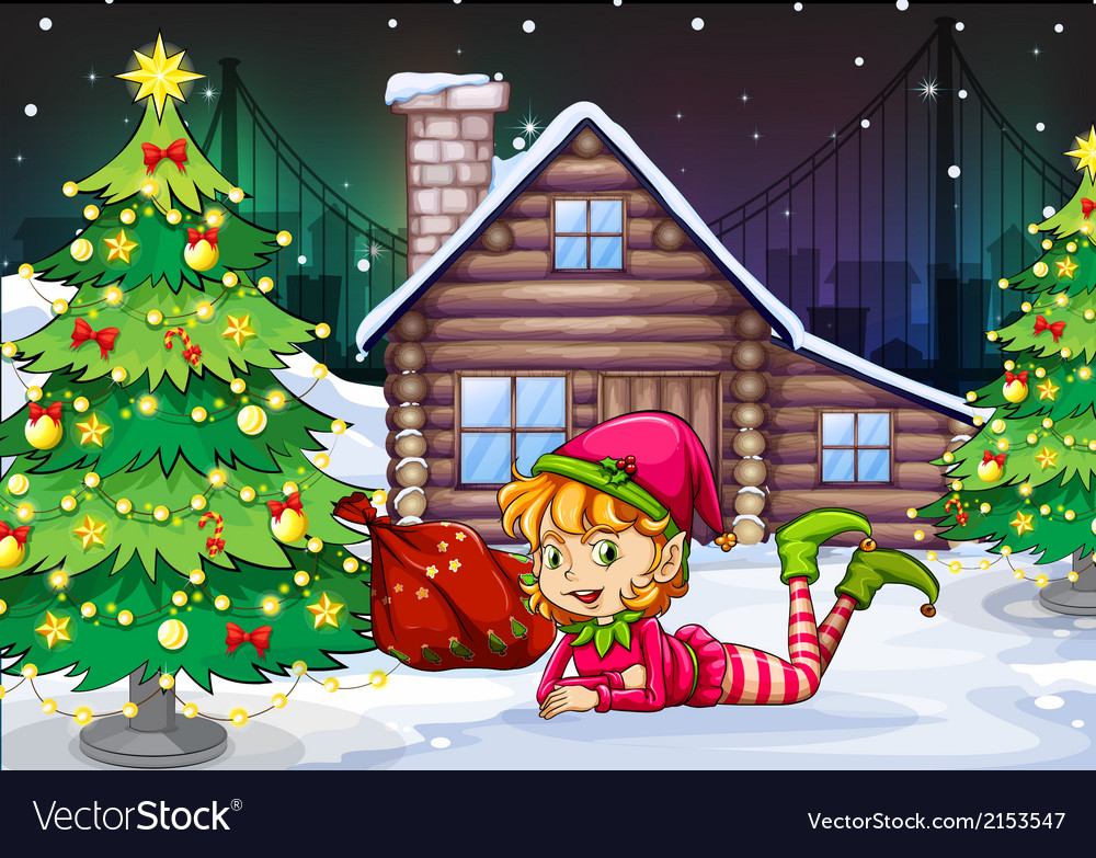 A female santa elf near the christmas tree vector   Price: 1 Credit (USD $1)