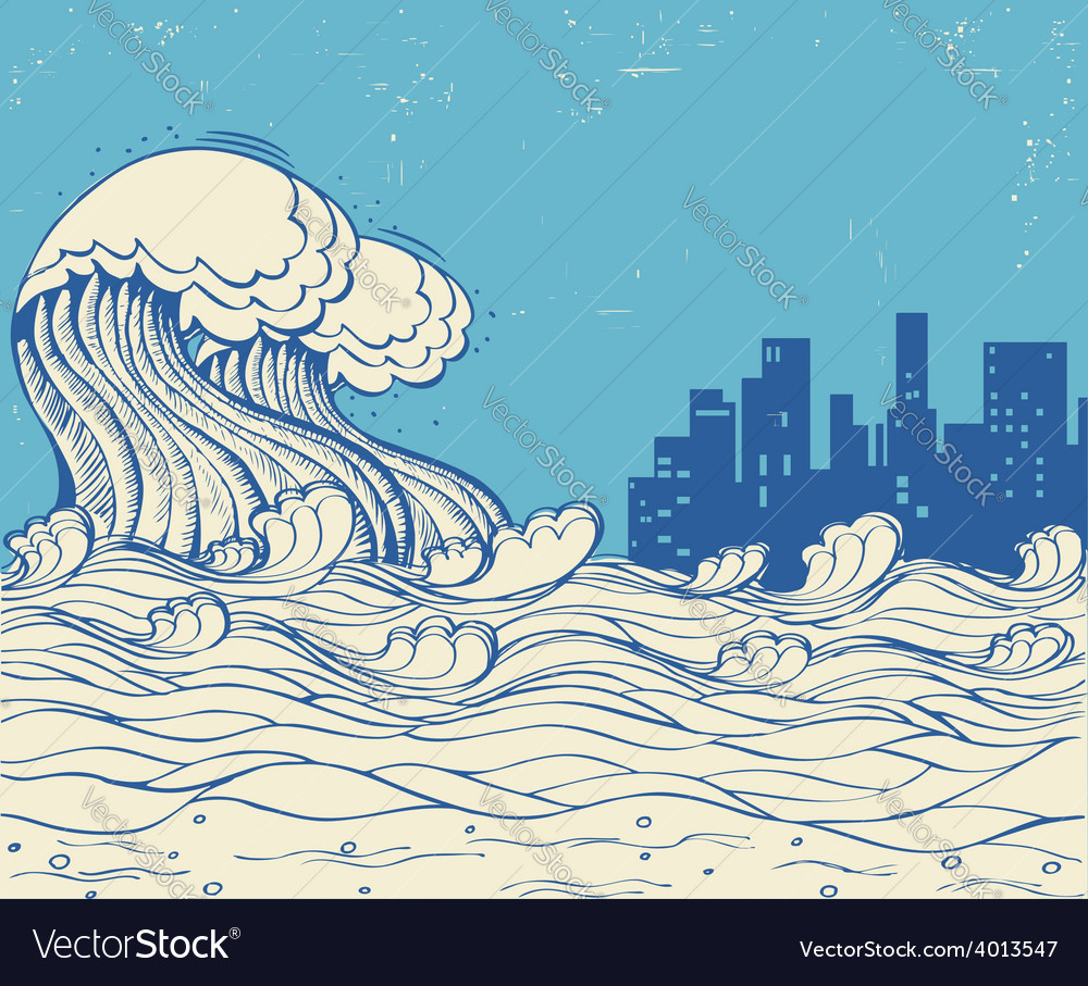 Big waves poster on old paper texture vector | Price: 1 Credit (USD $1)