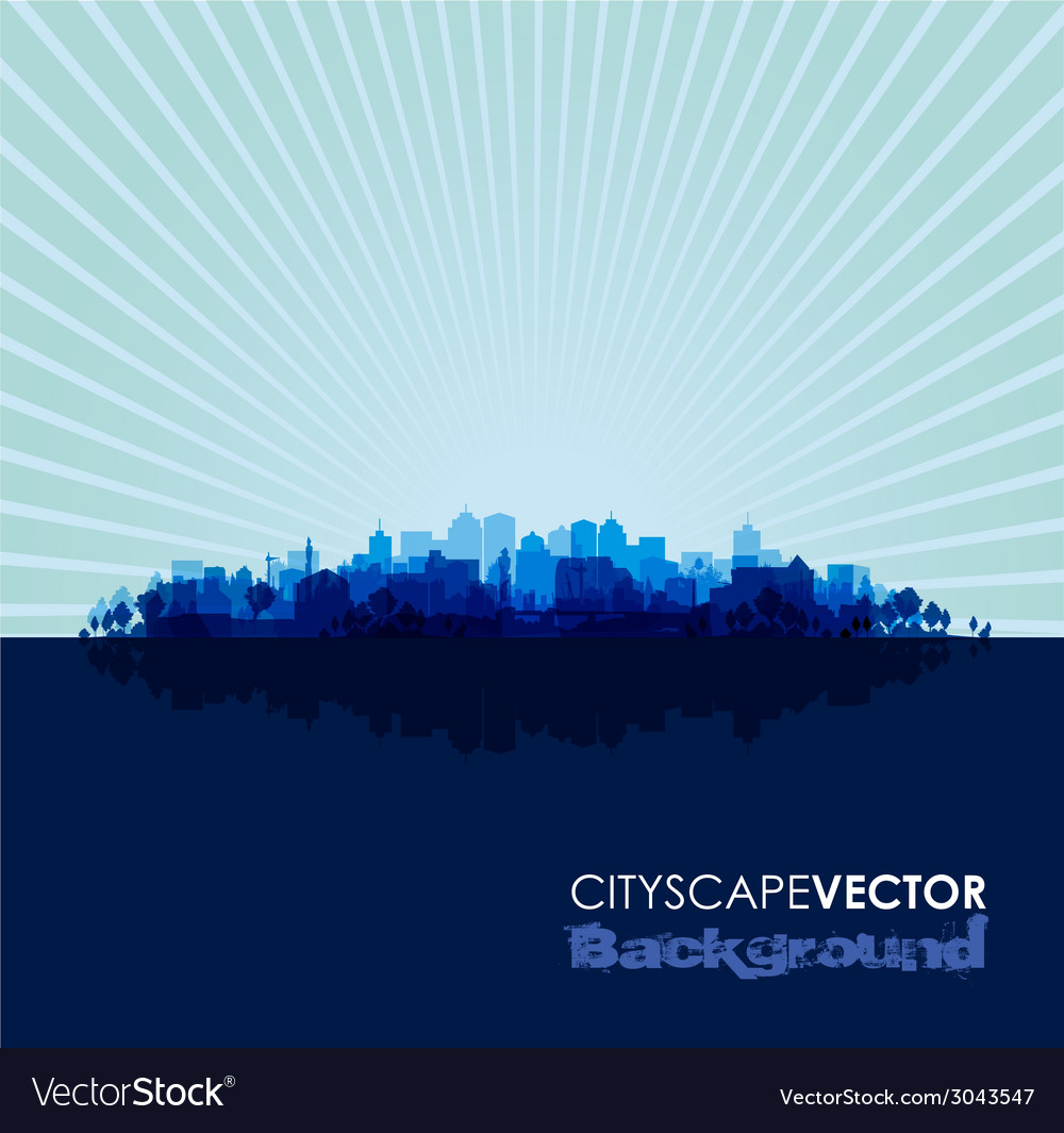 Blue cityscape vector | Price: 1 Credit (USD $1)