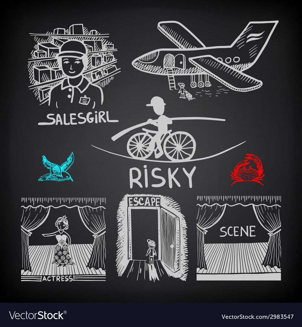 Doodle sketch ink drawing of risky salesgirl scene vector | Price: 1 Credit (USD $1)