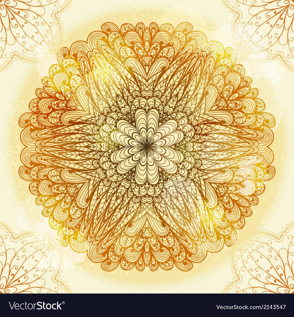 Hand drawn ethnic circular beige ornament vector | Price: 1 Credit (USD $1)