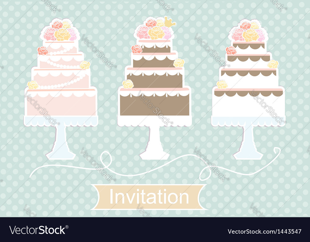 Invitation design with decorative cakes vector | Price: 1 Credit (USD $1)