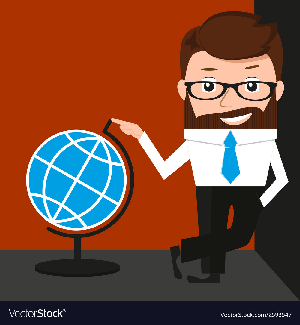 Lucky businessman is presenting a globe vector | Price: 1 Credit (USD $1)