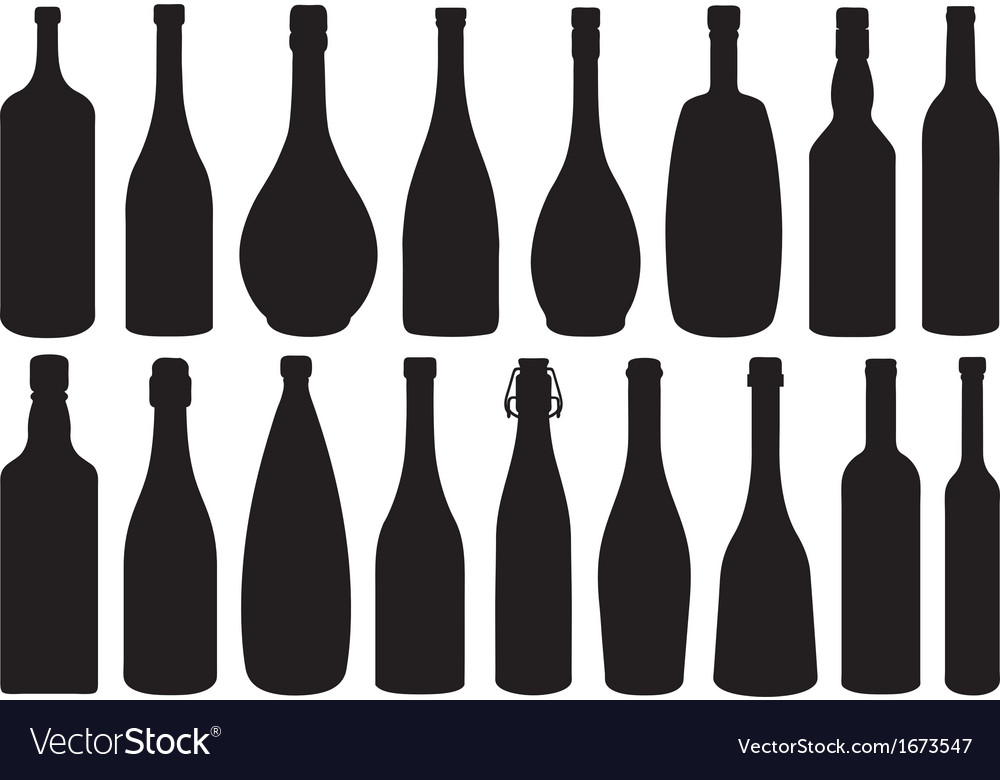 Set of different glass bottles vector | Price: 1 Credit (USD $1)