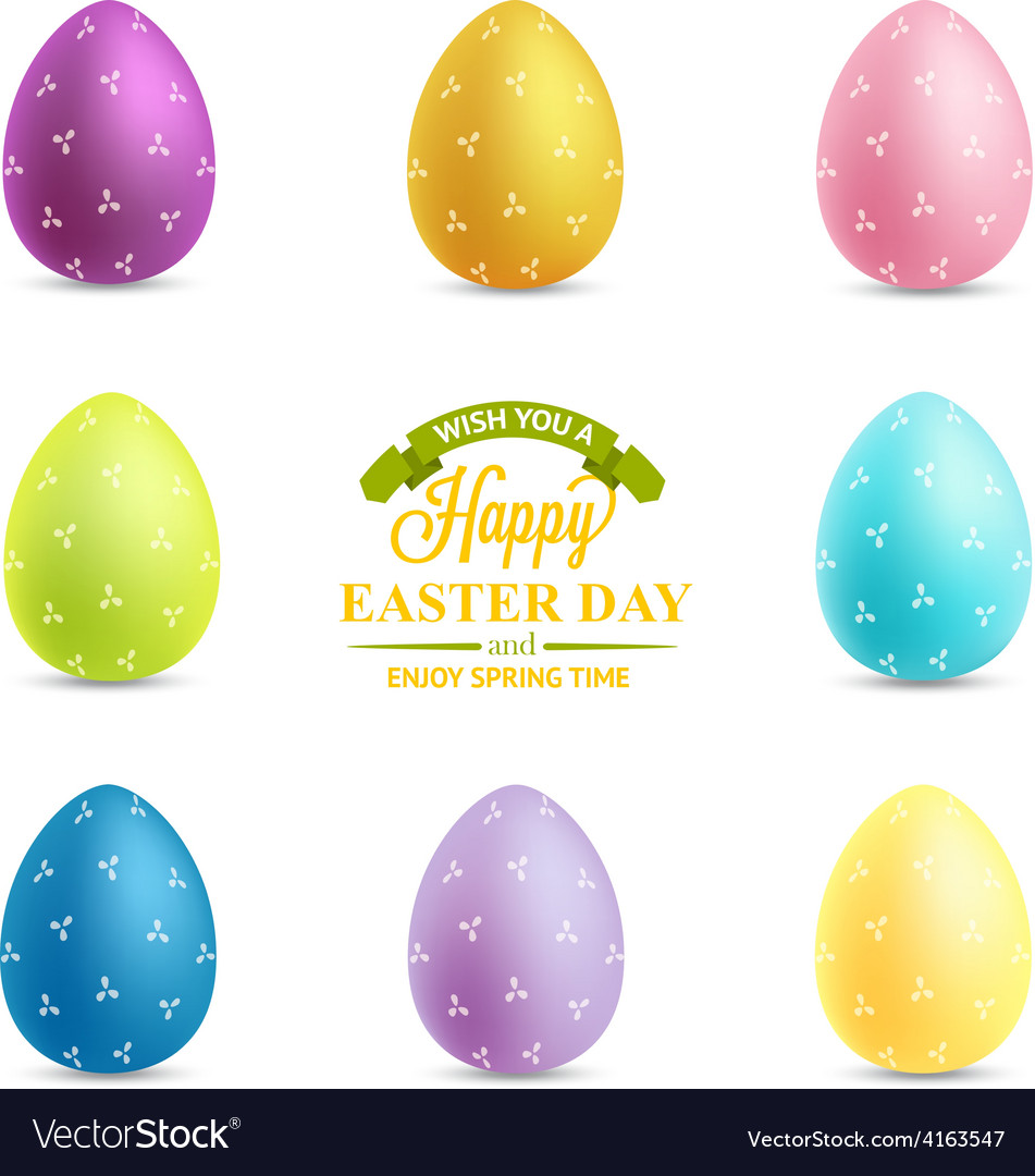 Set of easter eggs isolated on white background vector   Price: 1 Credit (USD $1)
