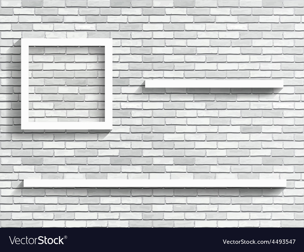Shelves on white brick wall vector   Price: 1 Credit (USD $1)