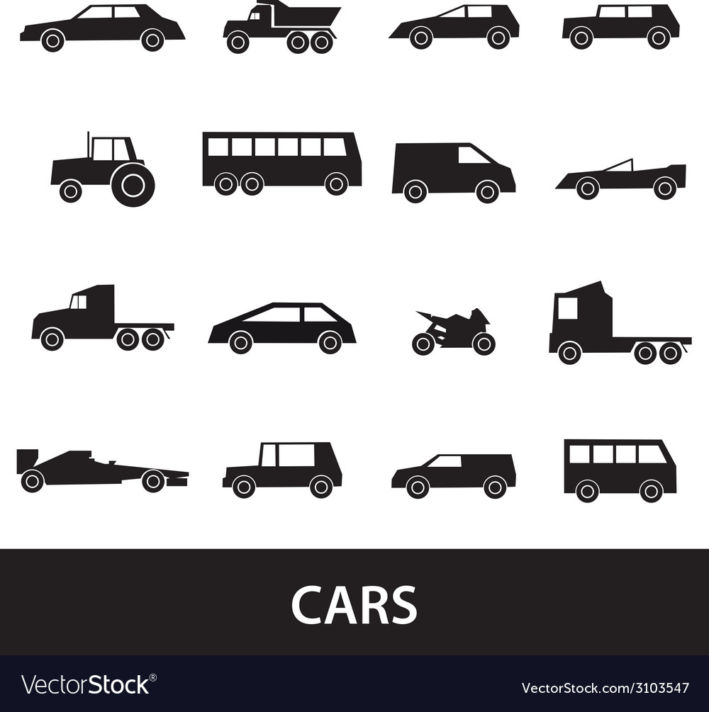 Simple cars black silhouettes icons collection vector | Price: 1 Credit (USD $1)