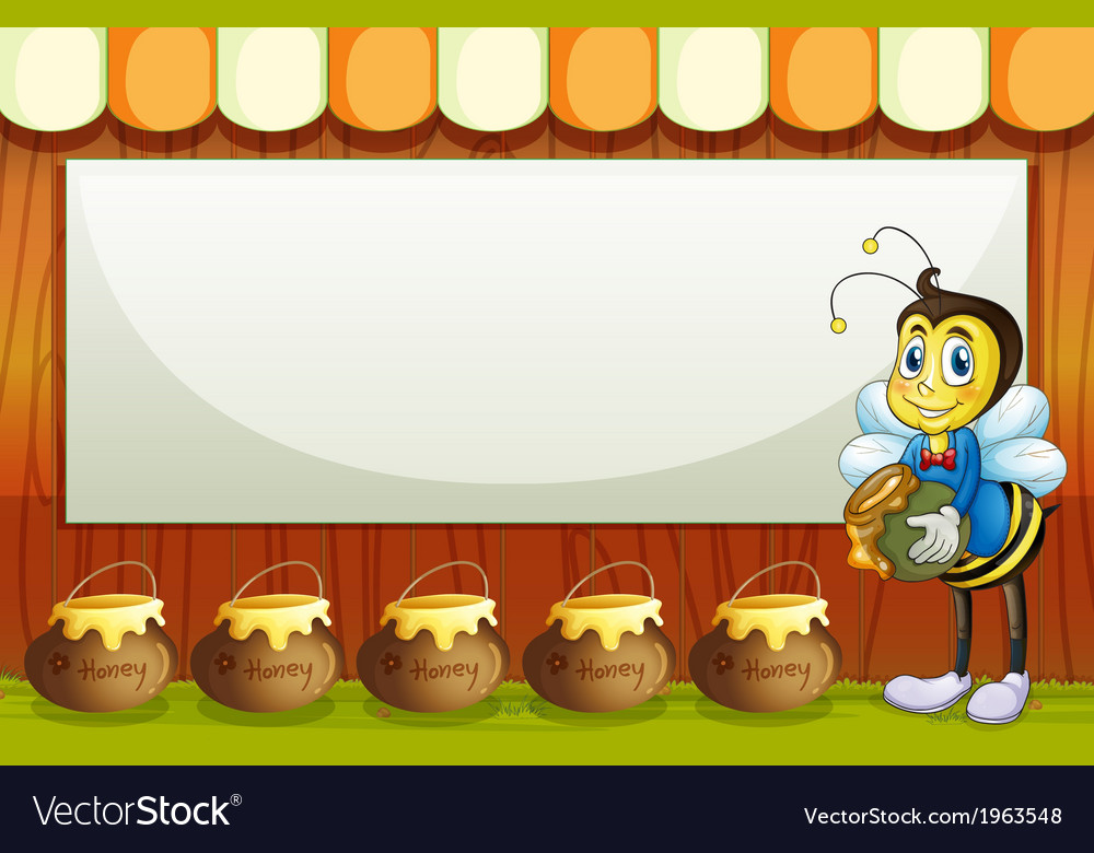 A bee with a pot standing in front of the empty vector | Price: 3 Credit (USD $3)