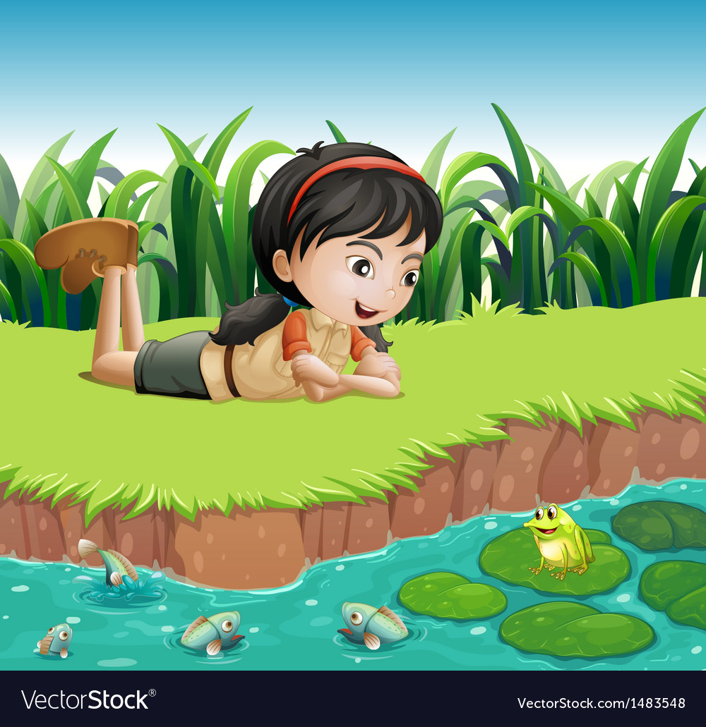 A girl beside a pond vector | Price: 1 Credit (USD $1)
