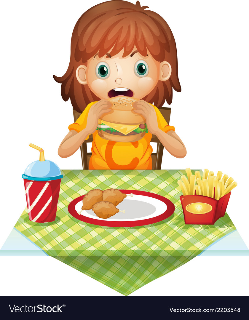 A hungry little girl eating vector | Price: 3 Credit (USD $3)