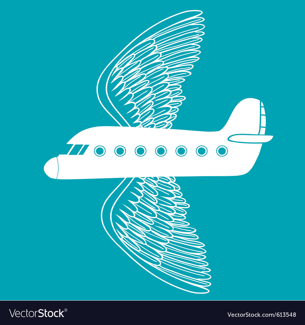 Airplane with bird wings vector | Price: 1 Credit (USD $1)