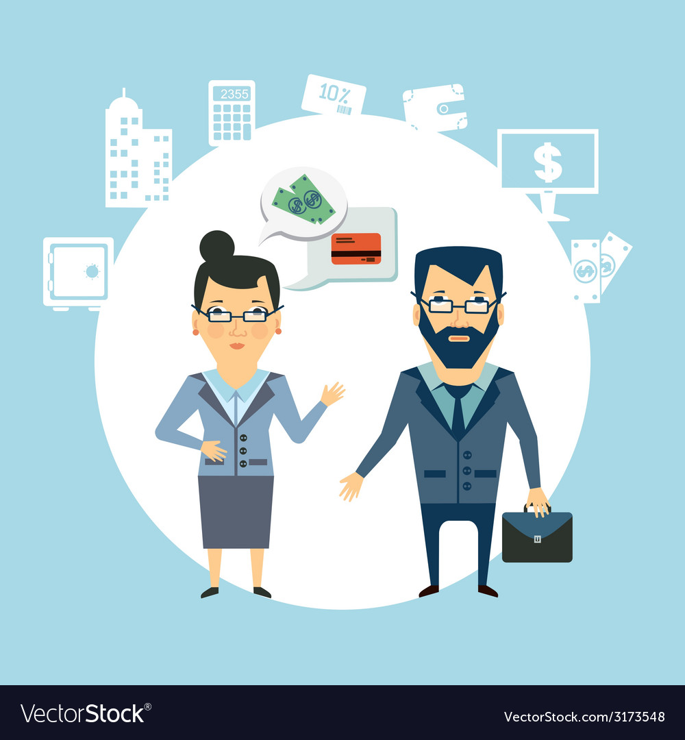 Bank employee to talk to customers vector | Price: 1 Credit (USD $1)
