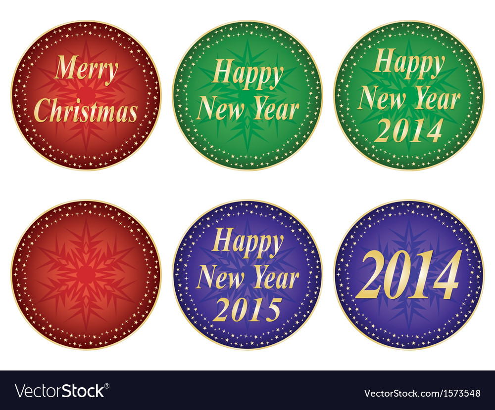 Christmas and new year seals vector | Price: 1 Credit (USD $1)