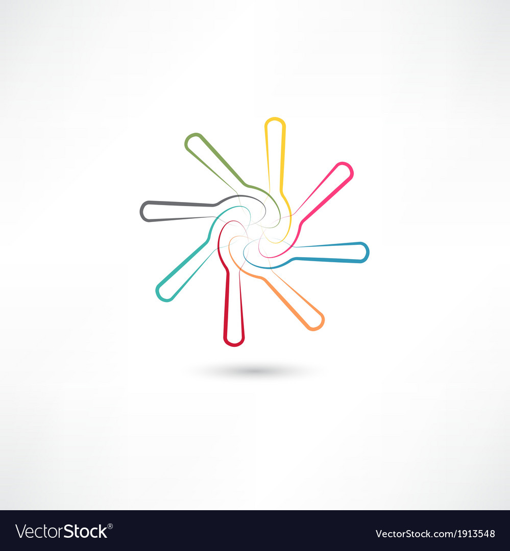 Colored spoons in circle vector | Price: 1 Credit (USD $1)