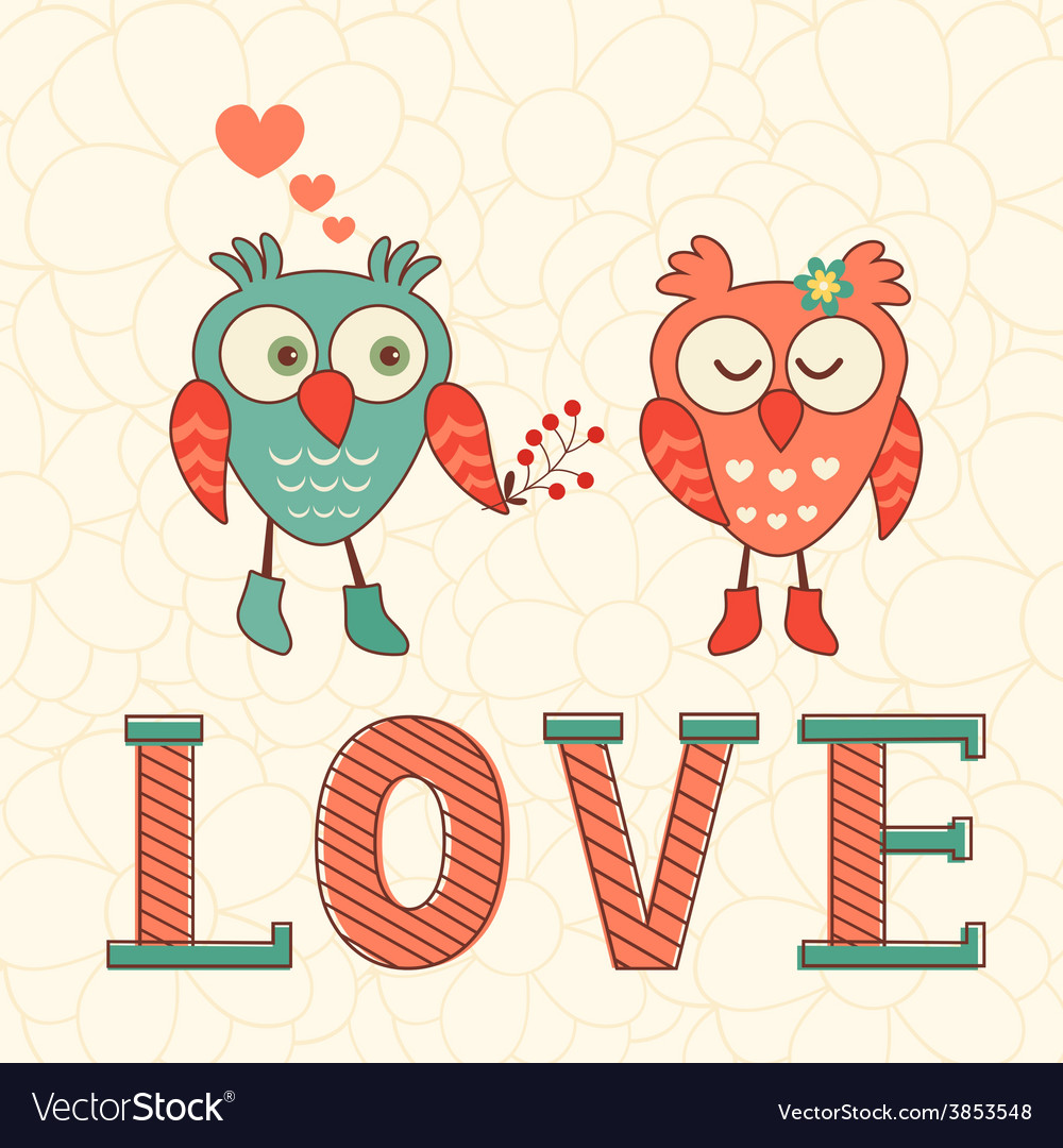 Cute card with two owls in love vector | Price: 1 Credit (USD $1)