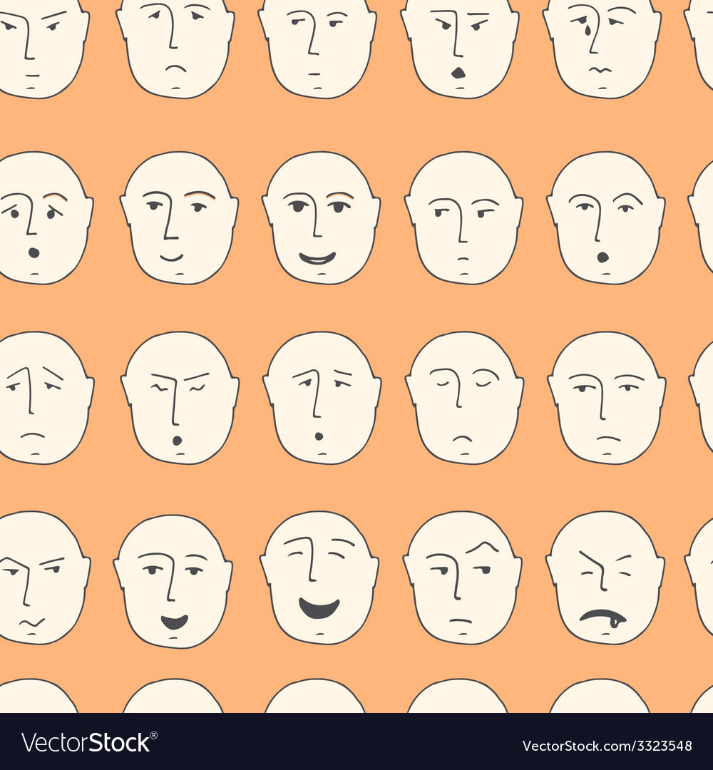 Cute seamless pattern with different facial vector | Price: 1 Credit (USD $1)