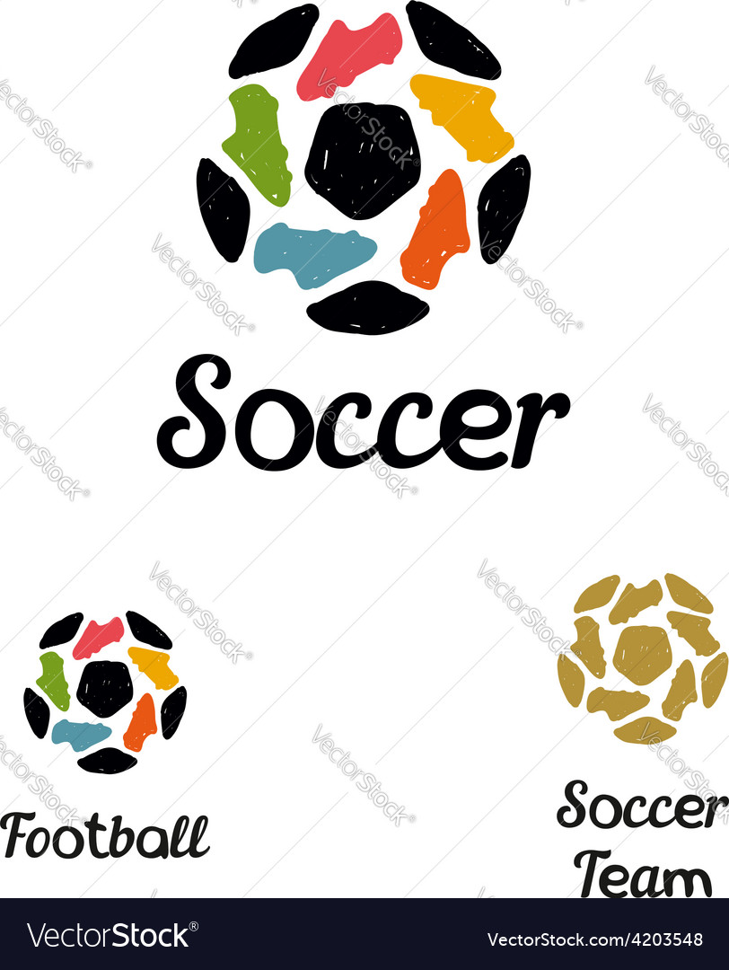 Hand drawn logo soccer ball and football boots vector | Price: 1 Credit (USD $1)