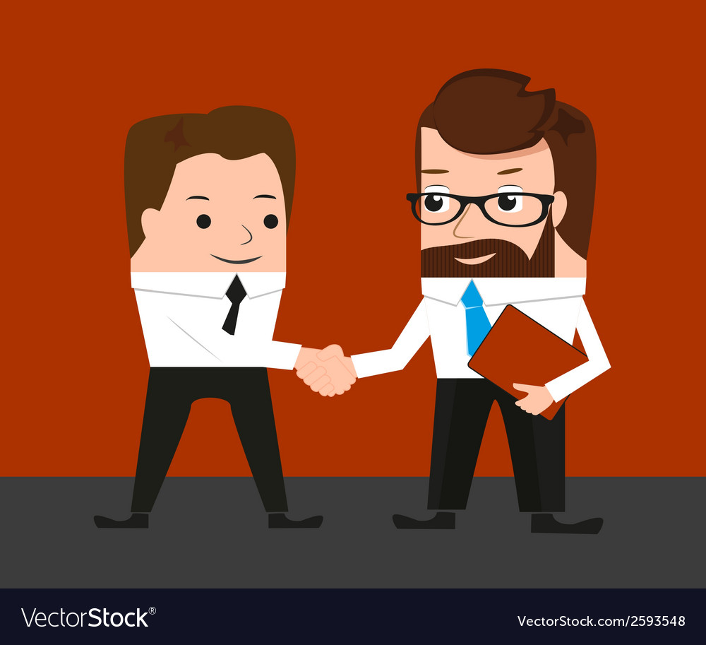 Lucky businessman is shaking hands with a vector | Price: 1 Credit (USD $1)