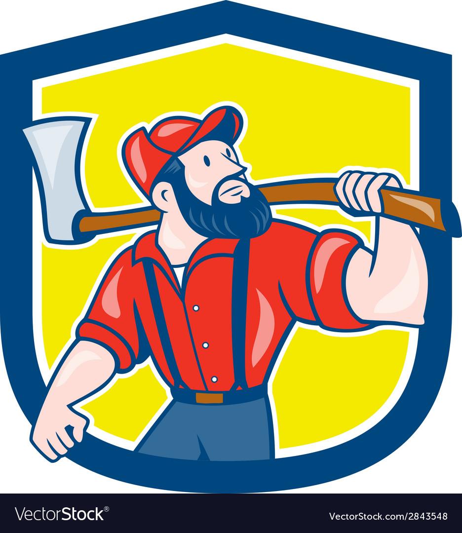Lumberjack holding axe shield cartoon vector   Price: 1 Credit (USD $1)
