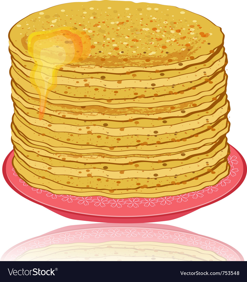 Plate of pancakes and honey vector | Price: 1 Credit (USD $1)