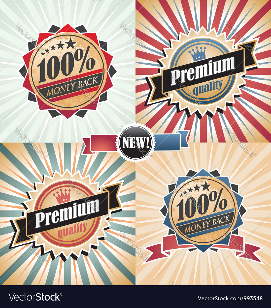 Vintage quality guarantee labels vector | Price: 1 Credit (USD $1)