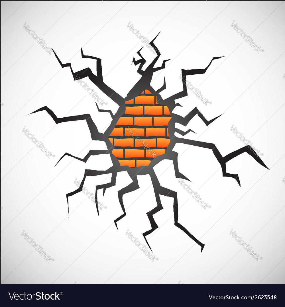Wall with crack vector | Price: 1 Credit (USD $1)