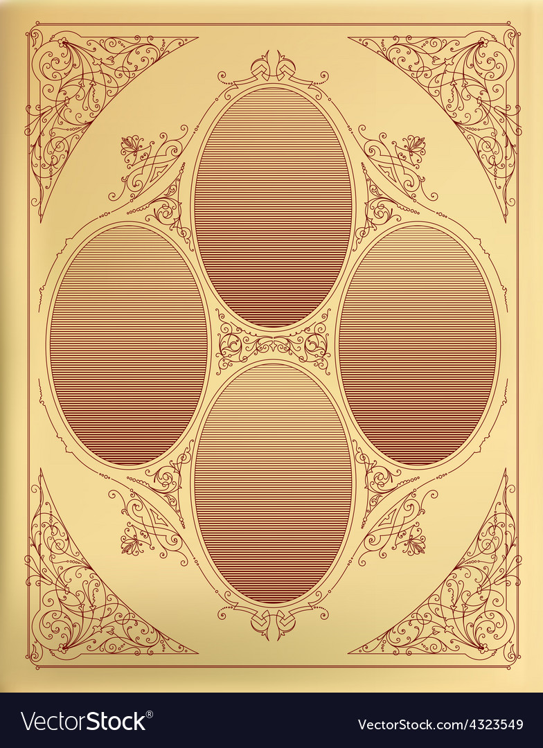 Card design with engraving organized by layers vector | Price: 1 Credit (USD $1)