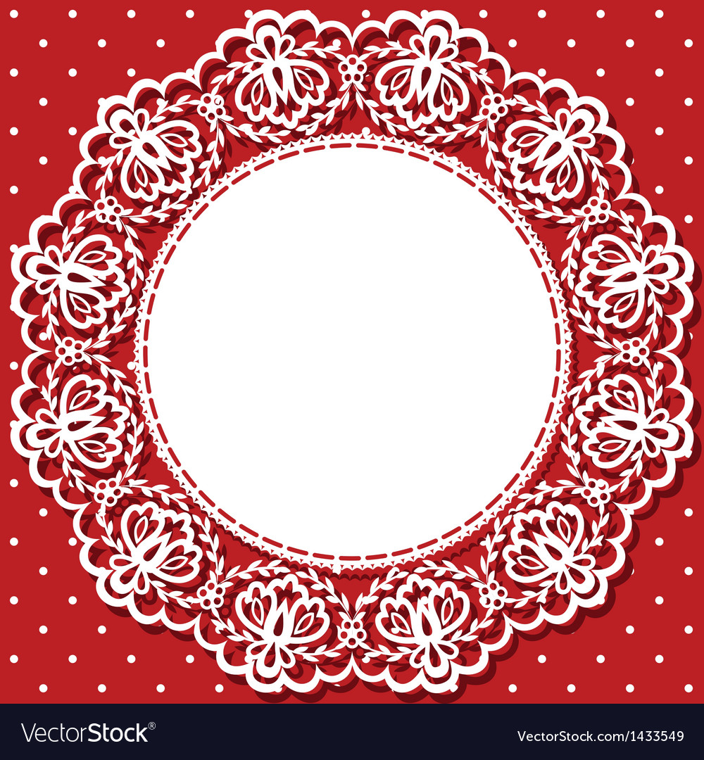 Card with lace and napkin vector | Price: 1 Credit (USD $1)