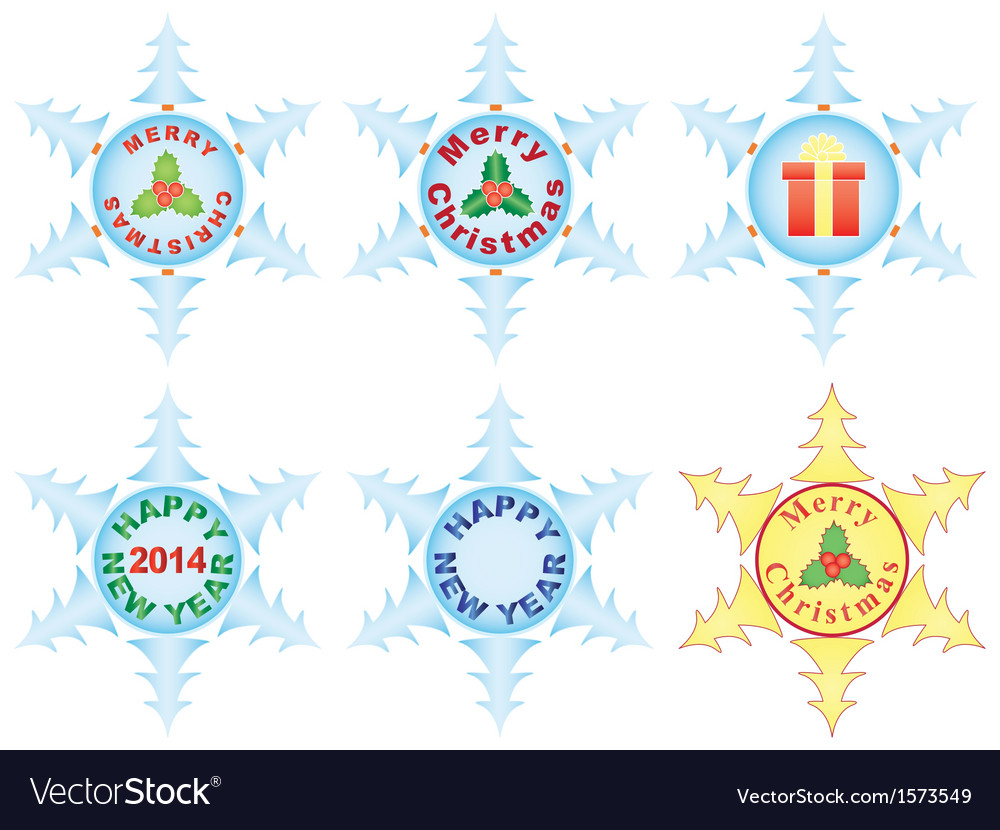 Christmas and new year snowflakes vector | Price: 1 Credit (USD $1)