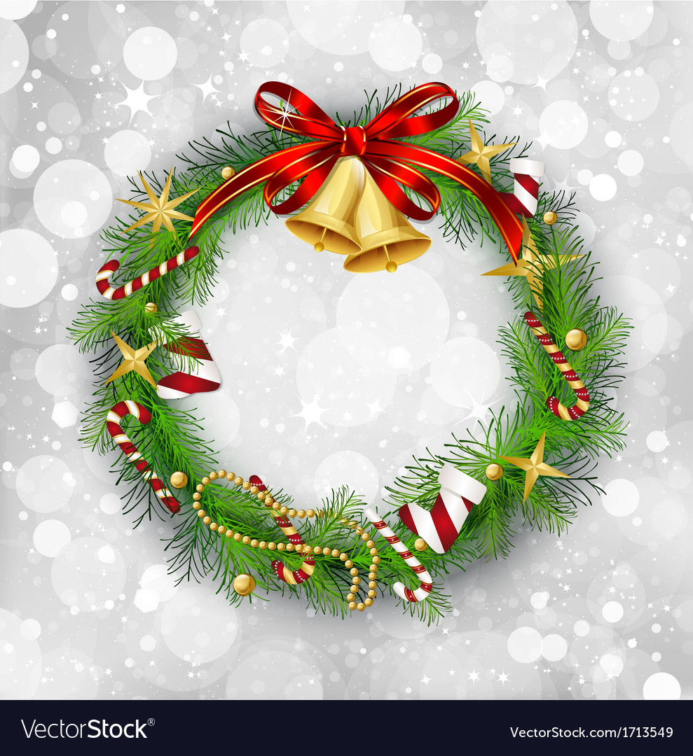 Christmas garland with bells and holly berry vector | Price: 1 Credit (USD $1)