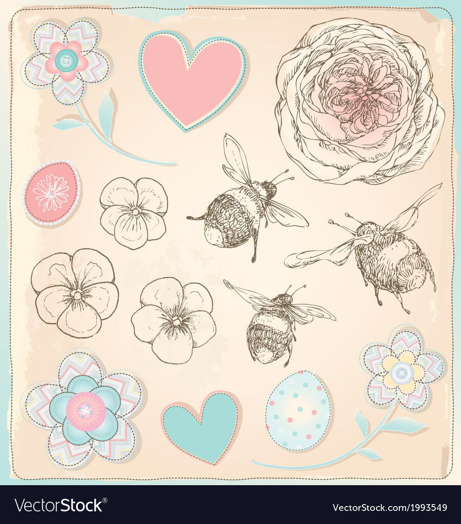 Hand drawn vintage bees flowers and hearts set vector | Price: 1 Credit (USD $1)