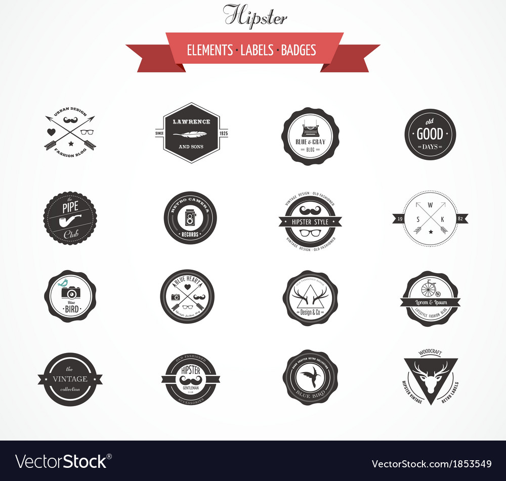 Hipster lables badges and elements vector | Price: 1 Credit (USD $1)