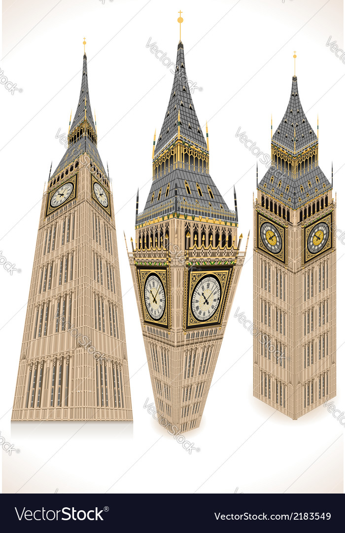 Isometric big ben tower in three positions vector | Price: 1 Credit (USD $1)