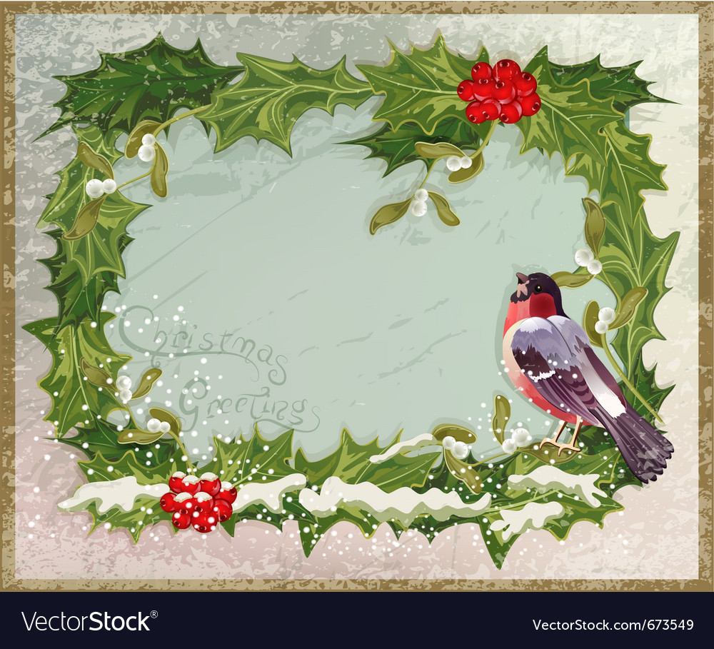 Old vintage postcard with holly and bullfinch vector | Price: 3 Credit (USD $3)